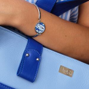 Bracciale in acciaio con maiolica - Nereidi Blu